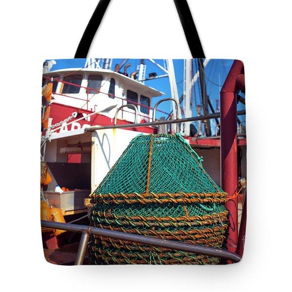 Tote Bag featuring the photograph Lbi Green Fishing Nets by John Rizzuto