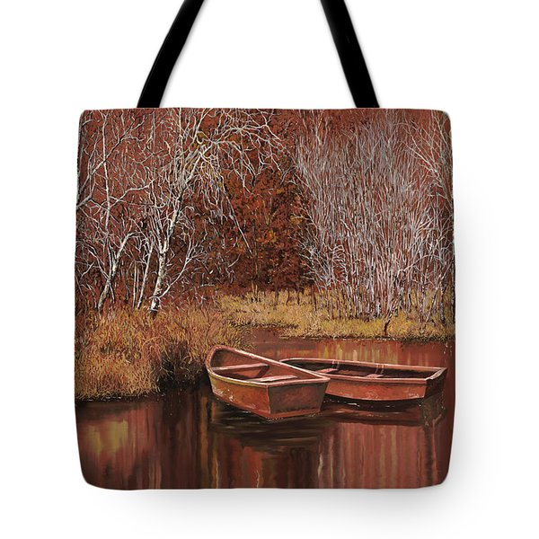 Tote Bag featuring the painting Le Barche Sullo Stagno by Guido Borelli