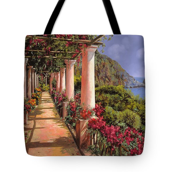 Tote Bag featuring the painting Le Colonne E La Buganville by Guido Borelli