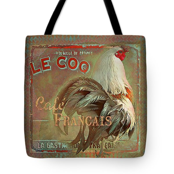 Tote Bag featuring the digital art Le Coq - Cafe Francais by Jeff Burgess