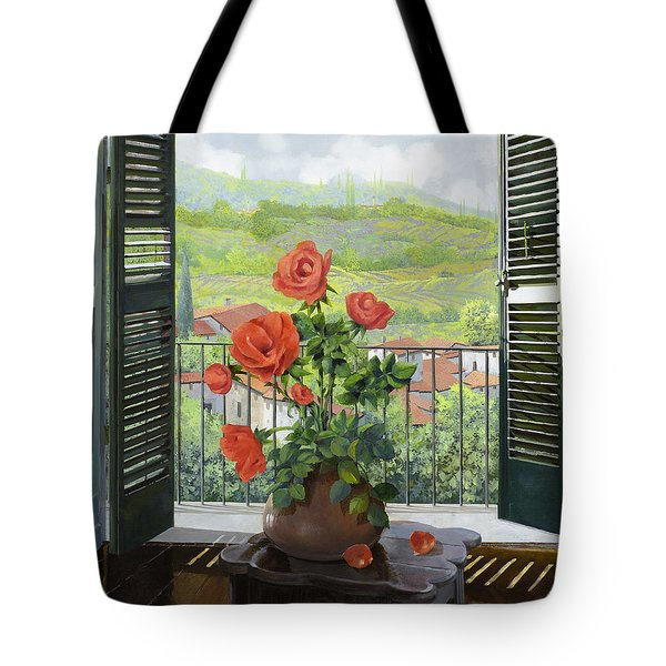 Tote Bag featuring the painting Le Persiane Sulla Valle by Guido Borelli