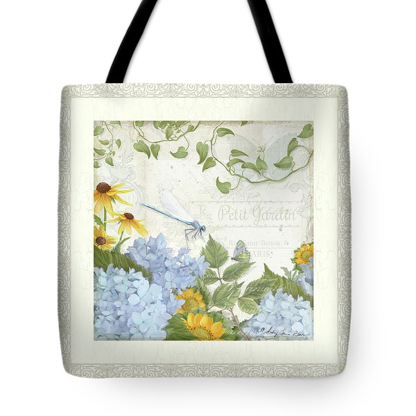 Le Petit Jardin 2 - Garden Floral W Dragonfly, Butterfly, Daisies And Blue Hydrangeas W Border Tote Bag by Audrey Jeanne Roberts