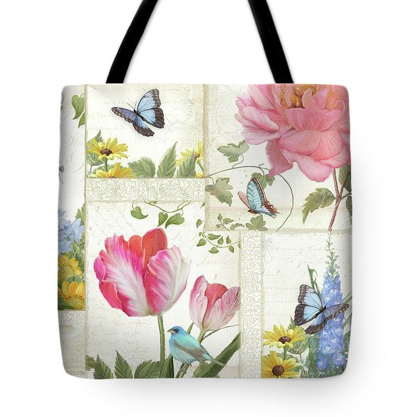 Le Petit Jardin - Collage Garden Floral W Butterflies, Dragonflies And Birds Tote Bag by Audrey Jeanne Roberts