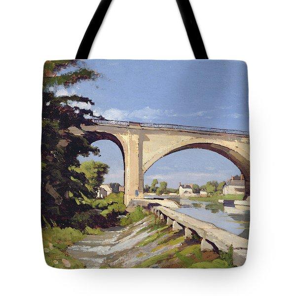 Le Pont Canal A Briare Tote Bag by Henri Joseph Harpignies
