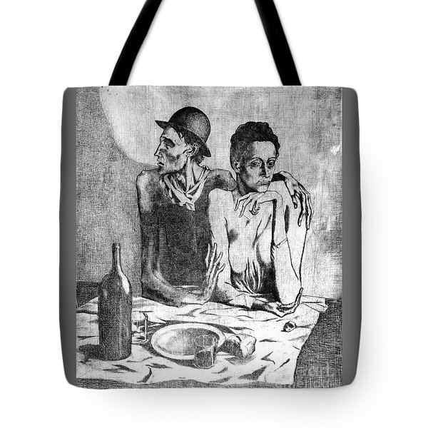 Tote Bag featuring the painting Le Repas Frugal by Pg Reproductions