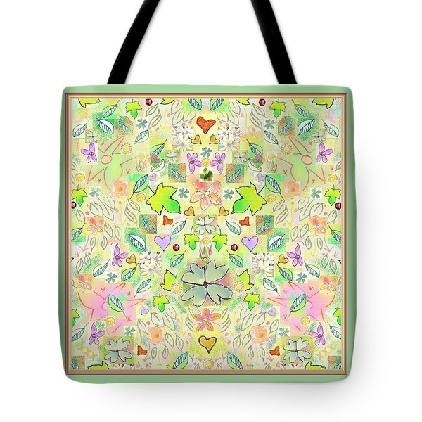 Leaf And Flower And Heart Pattern  Tote Bag