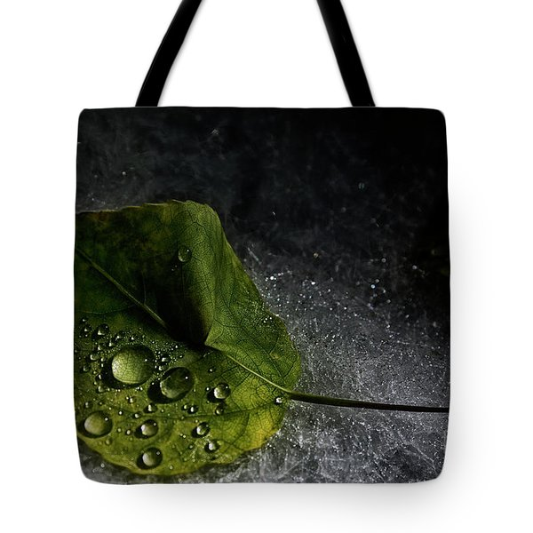 Leaf Droplets Tote Bag