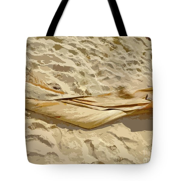 Tote Bag featuring the digital art Leaf In The Sand by Francesca Mackenney