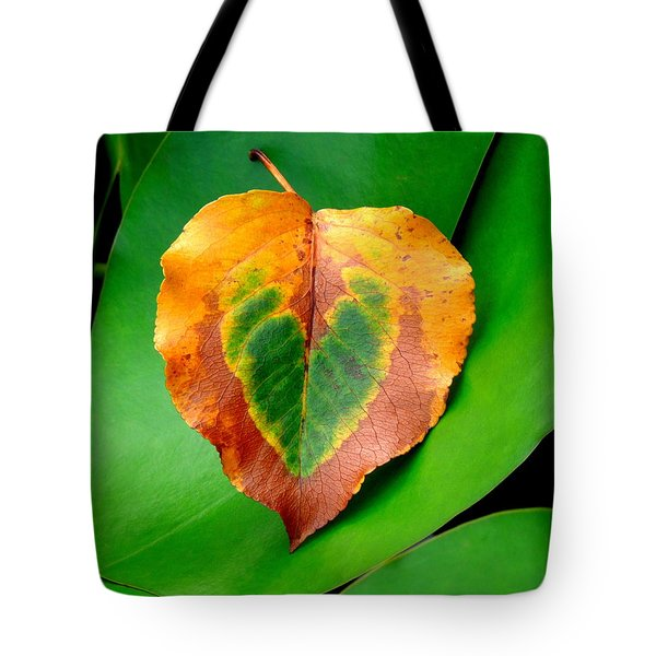 Leaf Leaf Heart Tote Bag by Renee Trenholm