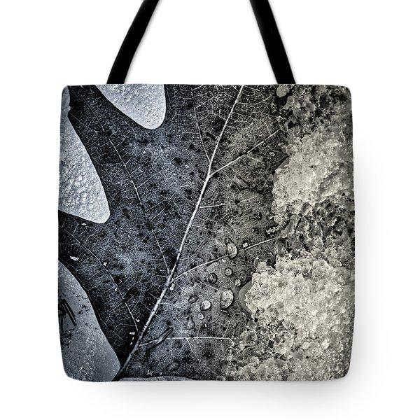 Leaf On Ice Tote Bag