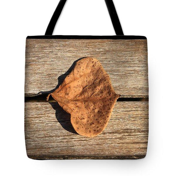 Leaf On Wooden Plank Tote Bag