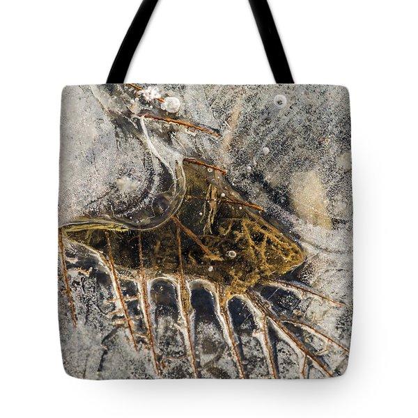 Leaf Veins In Ice Tote Bag