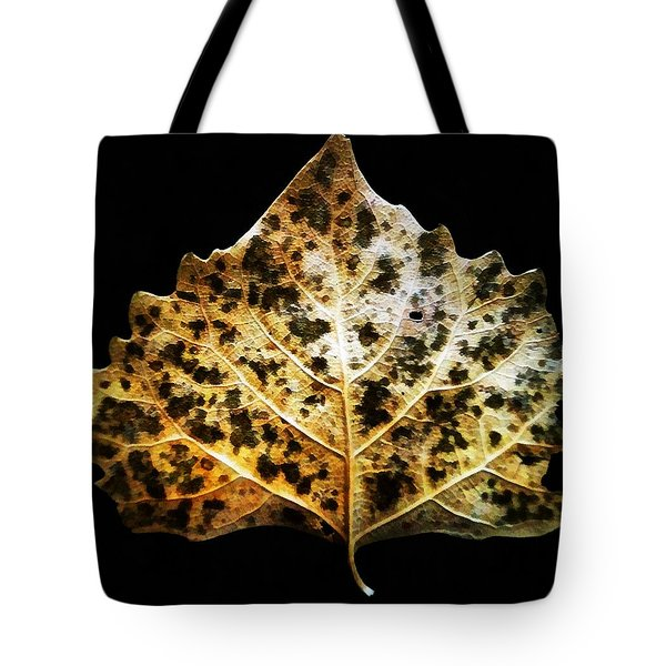 Leaf With Green Spots Tote Bag by Joseph Frank Baraba