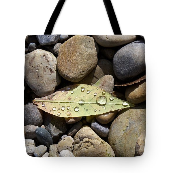 Leaf With Water Droplets In Rocks Tote Bag