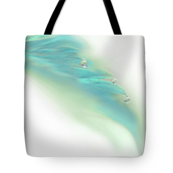 Tote Bag featuring the photograph Leaf With Water Drops Teal by Jennie Marie Schell