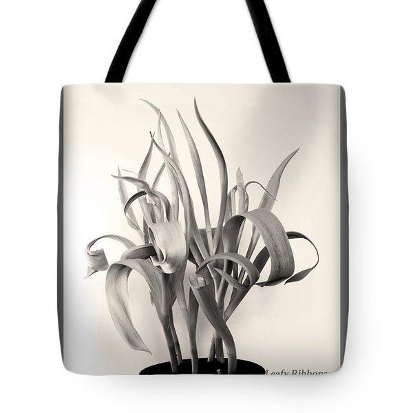 Leafy Ribbons In Shades Of Gray Tote Bag