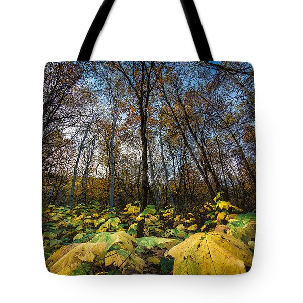 Leafy Yellow Forest Carpet Tote Bag