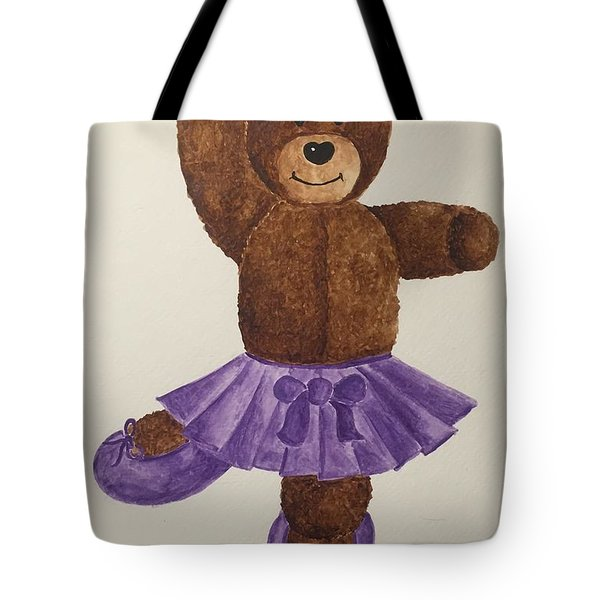 Tote Bag featuring the painting Leah's Ballerina Bear 1 by Tamir Barkan