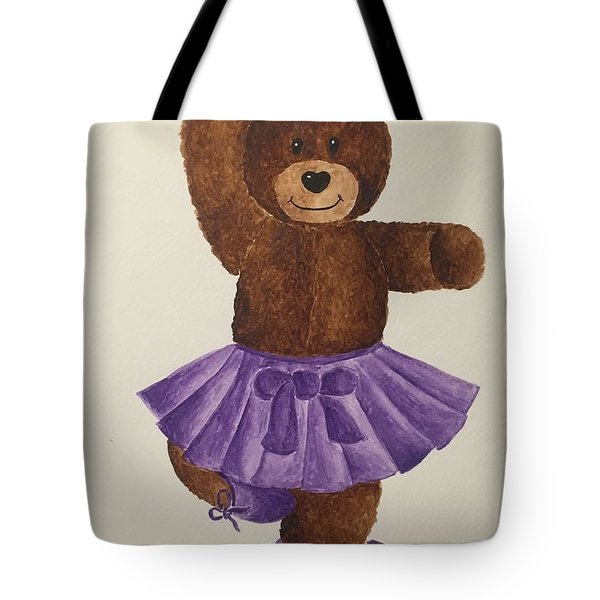 Tote Bag featuring the painting Leah's Ballerina Bear 2 by Tamir Barkan
