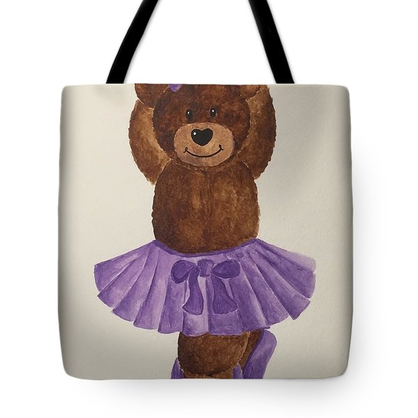 Tote Bag featuring the painting Leah's Ballerina Bear 3 by Tamir Barkan