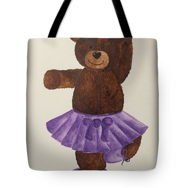 Tote Bag featuring the painting Leah's Ballerina Bear 4 by Tamir Barkan