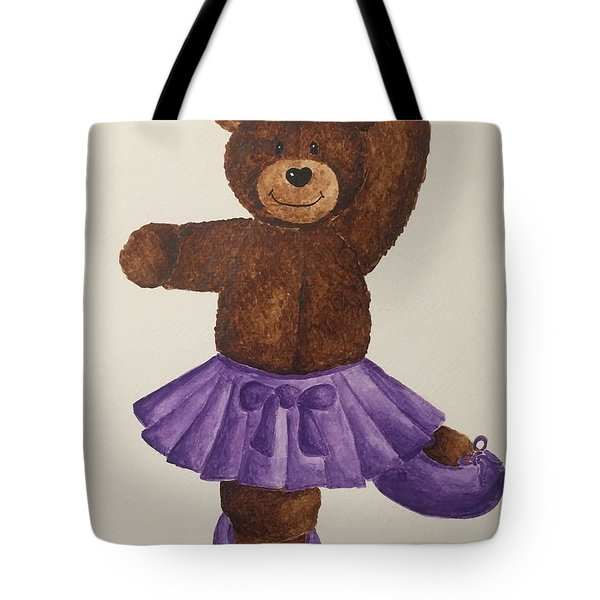 Tote Bag featuring the painting Leah's Ballerina Bear 5 by Tamir Barkan