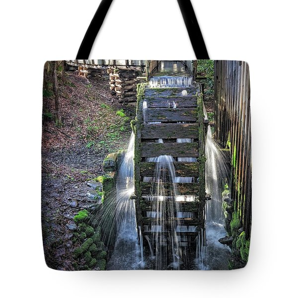 Tote Bag featuring the photograph Leaky Mill Wheel by Alan Raasch