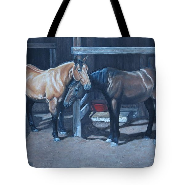 Tote Bag featuring the painting Lean On Me by Tammy Taylor