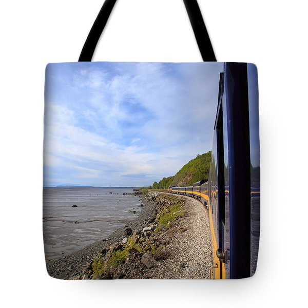 Leaning Out Between The Cars Tote Bag by Allan Levin