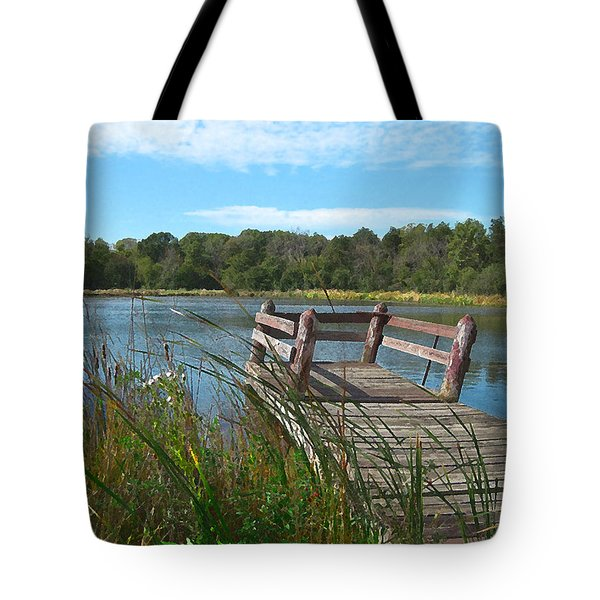Leaning Pier At Pine Lake Tote Bag