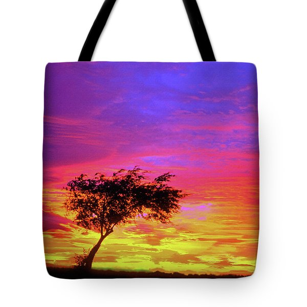 Leaning Tree At Sunset Tote Bag