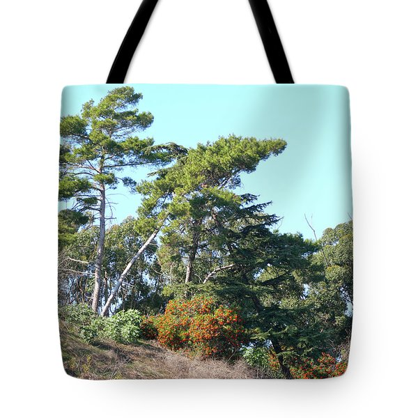 Leaning Trees On Hillside Tote Bag