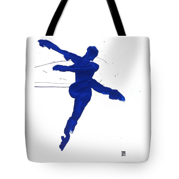 Tote Bag featuring the painting Leap Brush Blue 1 by Shungaboy X