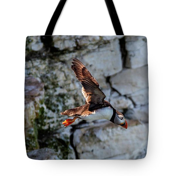 Tote Bag featuring the photograph Leap Puffin  by Cliff Norton