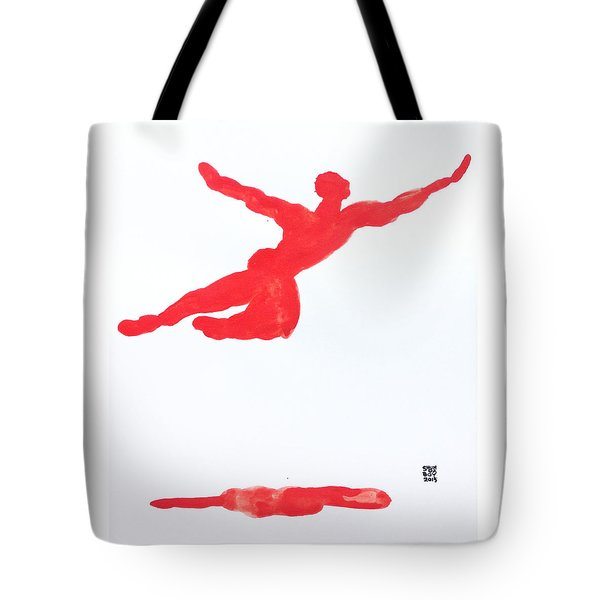Tote Bag featuring the painting Leap Water Vermillion by Shungaboy X