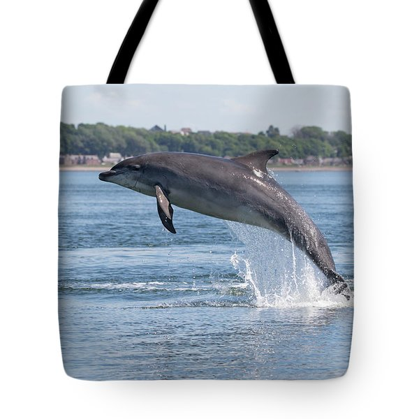 Tote Bag featuring the photograph Leaping Dolphin - Moray Firth, Scotland by Karen Van Der Zijden