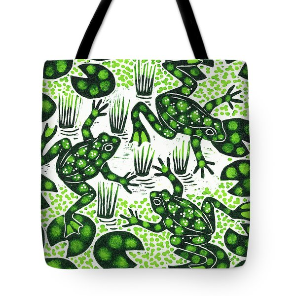 Leaping Frogs Tote Bag by Nat Morley