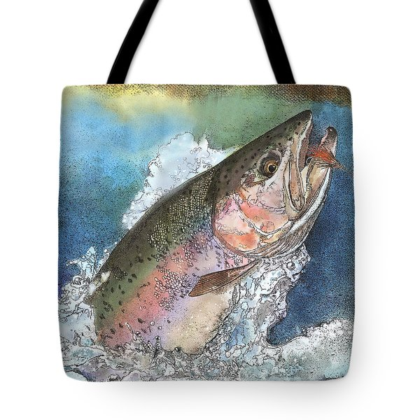 Leaping Rainbow Trout Tote Bag