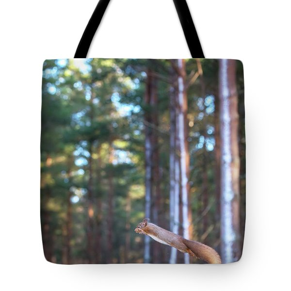 Leaping Red Squirrel Tall Tote Bag