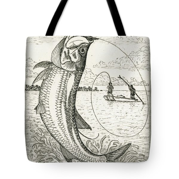 Tote Bag featuring the drawing Leaping Tarpon by Charles Harden