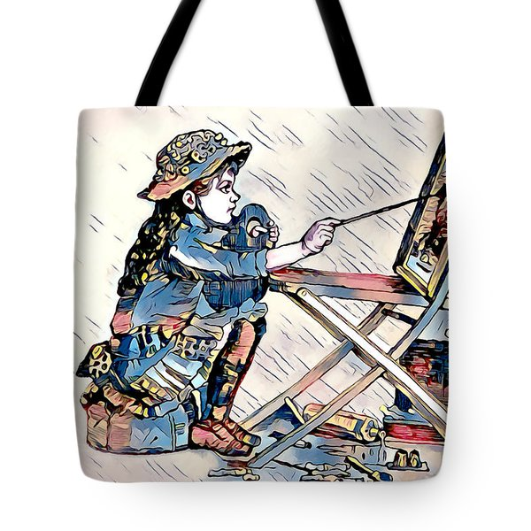 Tote Bag featuring the digital art Learning To Paint by Pennie McCracken
