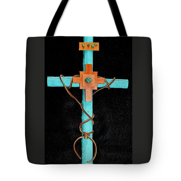 Tote Bag featuring the mixed media Leather And Stone Cross by M Diane Bonaparte