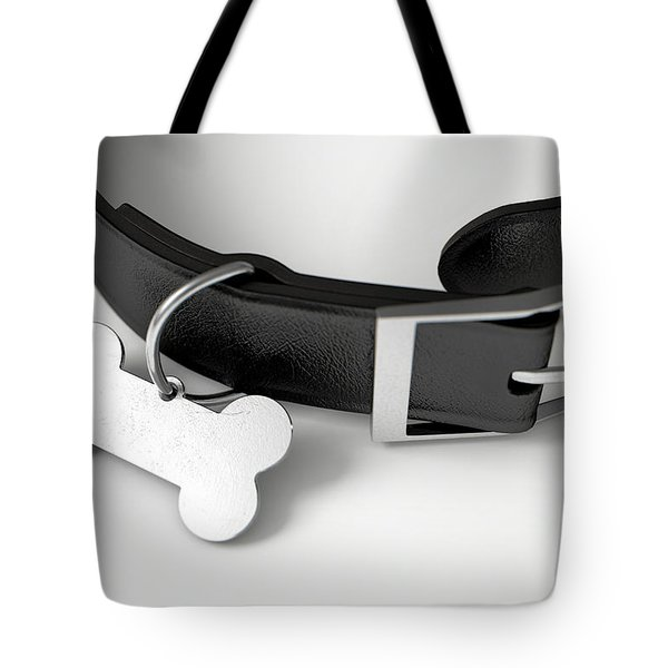Leather Collar With Tag Tote Bag
