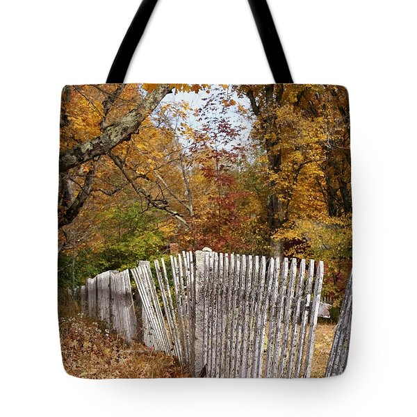 Leaves Along The Fence Tote Bag