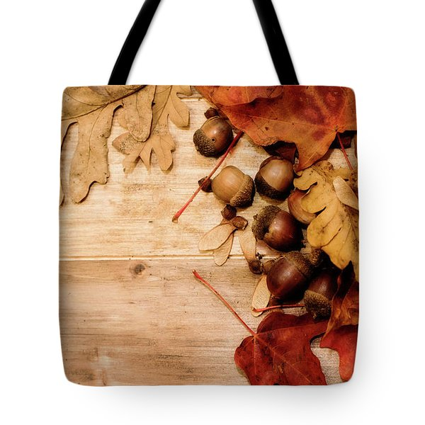 Tote Bag featuring the photograph Leaves And Nuts 1 by Rebecca Cozart
