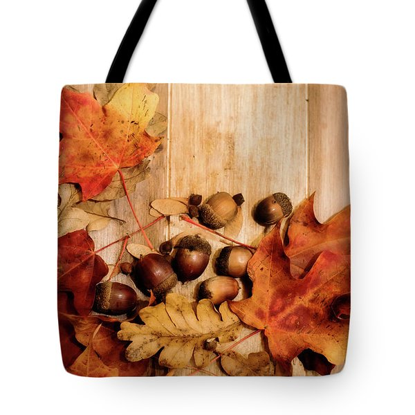 Tote Bag featuring the photograph Leaves And Nuts 2 by Rebecca Cozart