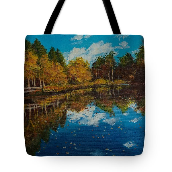 Tote Bag featuring the painting Leaves by Elizabeth Mundaden