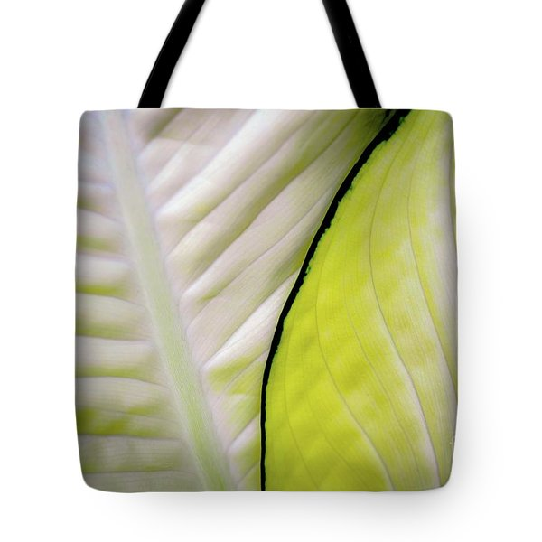 Leaves In White Tote Bag