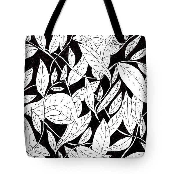 Tote Bag featuring the drawing Leaves by Lou Belcher