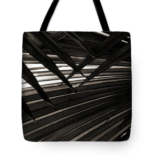 Leaves Of Palm Black And White Tote Bag by Marilyn Hunt
